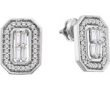 14K White Gold Diamond Invisible Earrings 0.50 cts. GD-53463