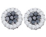 14K White Gold Black Diamond 0.76 cts Flower Earrings GD-53956