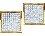 10K Gold Diamond Cluster Earrings GD-54344