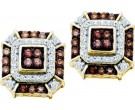 10K Yellow Gold Brown Diamond Earrings 0.48 cts. GD-58711