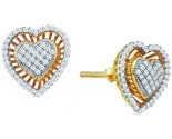 Ladies Diamond Heart Earrings 10K Yellow Gold 0.30 cts. GD-64891