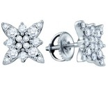 14K White Gold Diamond Cluster Earrings 0.62 cts. GD-65570
