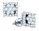 10K White Gold Diamond Square Earrings 0.62 cts. GD-72512