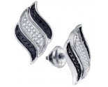 10K White Gold Black Diamond Earrings 0.25 cts. GD-76814