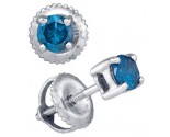 10K White Gold Blue Diamond Earrings 0.26 cts. GD-82639