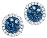 10K White Gold Blue Diamond Earrings 0.48 cts. GD-83301