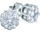 14K White Gold Diamond Cluster Earrings 1.00 ct. GD-27949