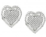 Ladies Diamond Heart Earrings 10K White Gold GS-15525