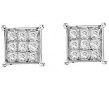 Diamond Cluster Earrings 10K White Gold 1.00 ct. GS-21274