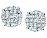 10K White Gold Diamond Cluster Earrings GS-22312