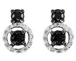 10K White Gold Black Diamond Earrings 0.50 cts. GS-24405