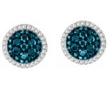 14K White Gold Blue Diamond Earrings 0.75 cts. GS-26001