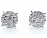 14K White Gold Diamond Cluster Earrings 1.45 cts. KCR016712
