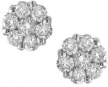 14K White Gold Diamond Cluster Earrings 1.00 ct. S6-3