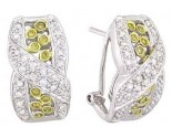 Diamond Cuff Earrings 14K White Gold 0.90 cts A74-E0168