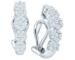 Diamond Cuff Earrings 14K White Gold 1.00 ct. GD-21804