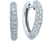 Diamond Cuff Heart Earrings 14K White Gold 0.49 cts. GD-37782