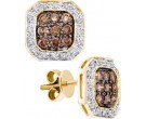 Cognac Diamond Earrings 14K Yellow Gold 0.77 cts. GD-48474