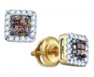 Cognac Diamond Earrings 14K Yellow Gold 0.30 cts. GD-70893