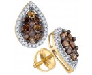 Chocolate Diamond Earrings 10K Yellow Gold 1.00 ct. GD-77578