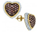 Cognac Diamond Earrings 10K Yellow Gold 1.30 cts. GD-81617