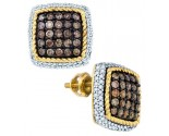 Champagne Diamond Earrings 10K Yellow Gold 1.29 cts. GD-81644