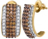 Chocolate Diamond Earrings 10K Yellow Gold 1.87 cts. GD-82345