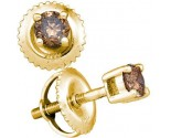 Chocolate Diamond Stud Earrings 10K Yellow Gold GD-82792