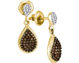 Cognac Diamond Earrings 10K Yellow Gold 0.50 cts. GD-89096