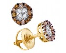 Cognac Diamond Earrings 10K Yellow Gold 0.33 cts. GD-90200
