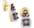 Champagne Diamond Earrings 10K Yellow Gold 0.38 cts. GD-90428