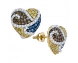 Mix Color Diamond Earrings 10K Yellow Gold 1.24 cts. GD-92630