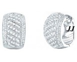 Diamond Cuff Earrings 14K White Gold 1.75 cts. S27-12