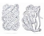 Diamond Cuff Earrings 14K White Gold 3.00 cts. S27-4