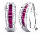 Diamond Fashion Earrings 14K White Gold 1.70 cts. S34-6