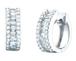 Diamond Cuff Earrings 14K White Gold 1.20 cts. S37-1