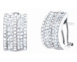 Diamond Cuff Earrings 14K White Gold 2.60 cts. S40-6