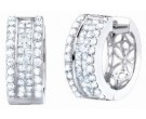Diamond Cuff Earrings 14K White Gold 2.70 cts. S40-7