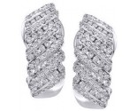 Diamond Cuff Earrings 14K White Gold 0.80 cts. S7-10