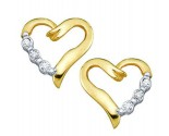 Ladies Diamond Heart Earrings 10K Yellow Gold 0.03 cts. GD-20387
