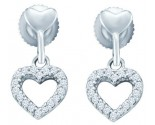 Ladies Diamond Heart Earrings 10K White Gold 0.20 cts. GD-46619