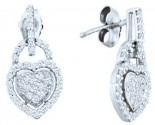 Ladies Diamond Heart Earrings 10K White Gold 0.33 cts. GD-50087