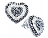 Ladies Diamond Heart Earrings 14K White Gold 1.30 cts. GD-51956