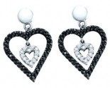 Ladies Diamond Heart Earrings 14K White Gold 0.58 cts. GD-54158