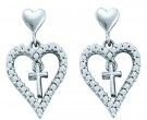 Ladies Diamond Heart Earrings 14K White Gold 0.33 cts. GD-54975