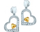 Ladies Diamond Heart Earrings 10K White Gold 0.10 cts. GD-60217