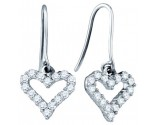 Ladies Diamond Heart Earrings 14K White Gold 0.64 cts. GD-65572