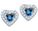 Blue Diamond Heart Earrings 10K White Gold 0.27 cts. GD-75021