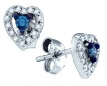 Blue Diamond Heart Earrings 10K White Gold 0.21 cts. GD-75066