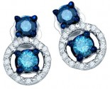 Blue Diamond Fashion Earrings 10K White Gold 0.53 cts. GD-75071